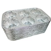 50 Pk Foil 6 Cavity Aluminum Pan Cake Mold Muffin Cupcake Disposable Container !