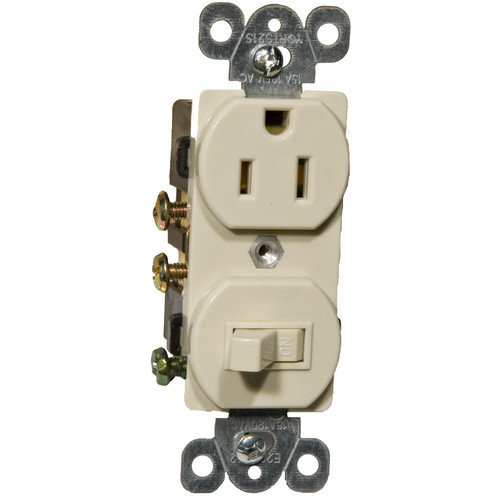 Morris Products Combination Single Pole Switch and Receptacle in Ivory