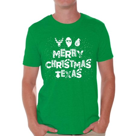 Awkward Styles Merry Christmas Texas Shirt Christmas Tshirts for Men Texas Shirts Men's Holiday Tee Merry Christmas Shirt Christmas Holiday Top Texas Love Shirt Texan Xmas Gift Texan Christmas Outfit ()
