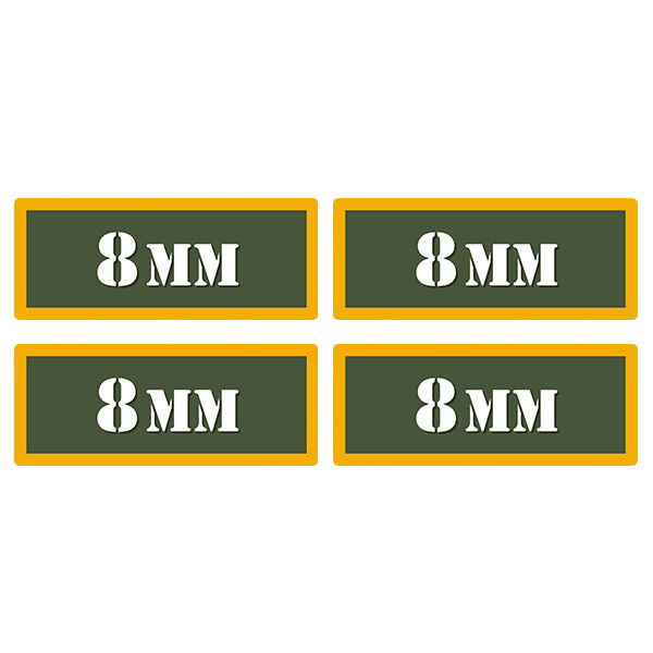 "8MM Ammo Can 4 Pack 3"" Olive OD Sticker Gun Ammunition Box Case Decal"
