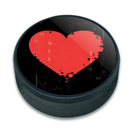 Heart Artsy Ice Hockey Puck