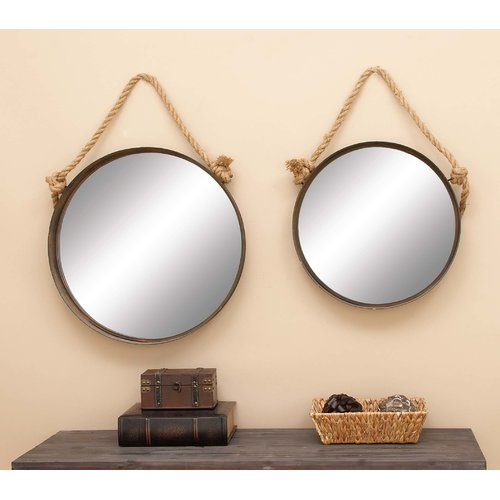 Set of 2 Round Metal Mirrors by Generic