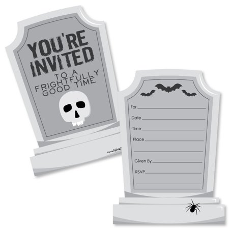 Graveyard Tombstones - Shaped Fill-In Invitations - Halloween Party Invitation Cards with Envelopes - Set of 12](Graveyard Halloween Invitation)
