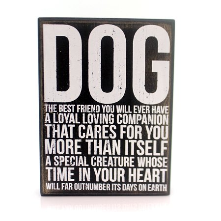 New Black White Decorative Wood Box Sign, DOG The Best Friend You Will Ever