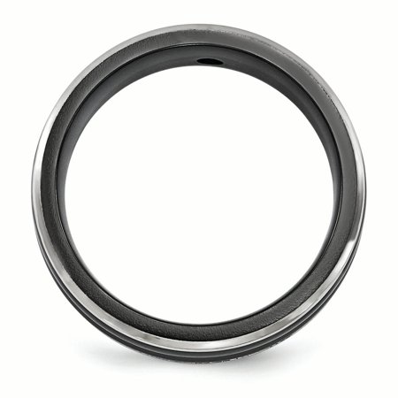 Edward Mirell Black Titanium .03ct Diamond 925 Sterling Silver Bezel 7mm Wedding Ring Band Size 9.00 Man Fine Jewelry Gift For Dad Mens For Him - image 3 of 11