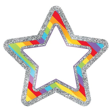 Sparkle & Shine Rainbow Glitter Stars Cut-Outs Rainbow Star Sparkle