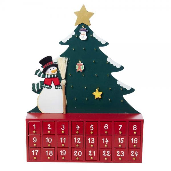 Kurt S. Adler Wooden Snowman with Tree Advent Calendar