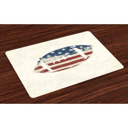 Sports Placemats Set of 4 Grunge American Flag Themed Stitched Rugby Ball Vintage Design Football Theme, Washable Fabric Place Mats for Dining Room Kitchen Table Decor,Cream Blue Red, by Ambesonne - Themes For Football