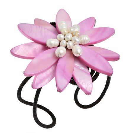 - Stylish  Pink Shell Flower with Pearl Center Stone Cuff