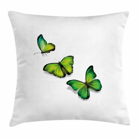 Green Throw Pillow Cushion Cover, Three Vibrant Butterflies on White Backdrop Magical Spring Nature, Decorative Square Accent Pillow Case, 18 X 18 Inches, Lime Green Fern Green Black, by Ambesonne