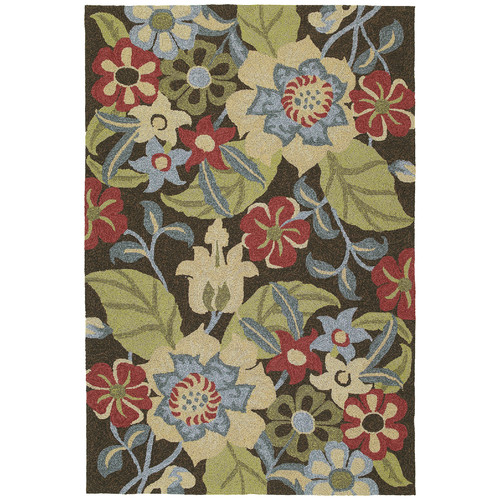 Kaleen Habitat 21 Salty Leaves Mocha Floral Indoor/Outdoor Area Rug