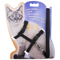 GLiving Pet cat/dog Leash Harness Adjustable & Durable Leash Set & Heavy Duty Denim Pet cat Leash Collar for Small, Perfect for Daily Training Walking Running Black