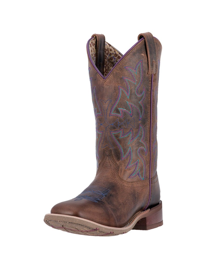 Laredo Western Boots Womens Ellery Stitched Square Toe Rust 5654 by Laredo