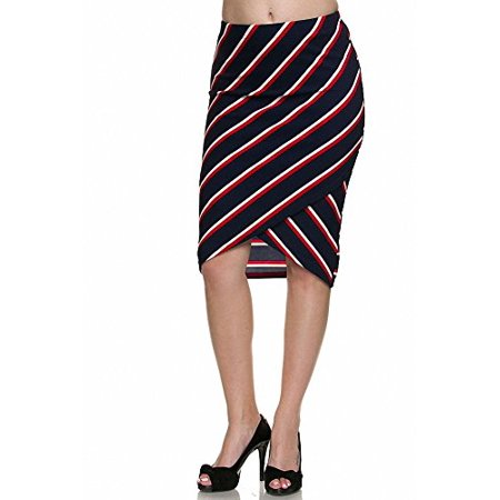 Tech Wrap Stripe (Sassy Apparel Women's Fitted Knee Length Wrapped Stripe Asymmetric Pencil Skirt (Large, Red-1160PS1) )