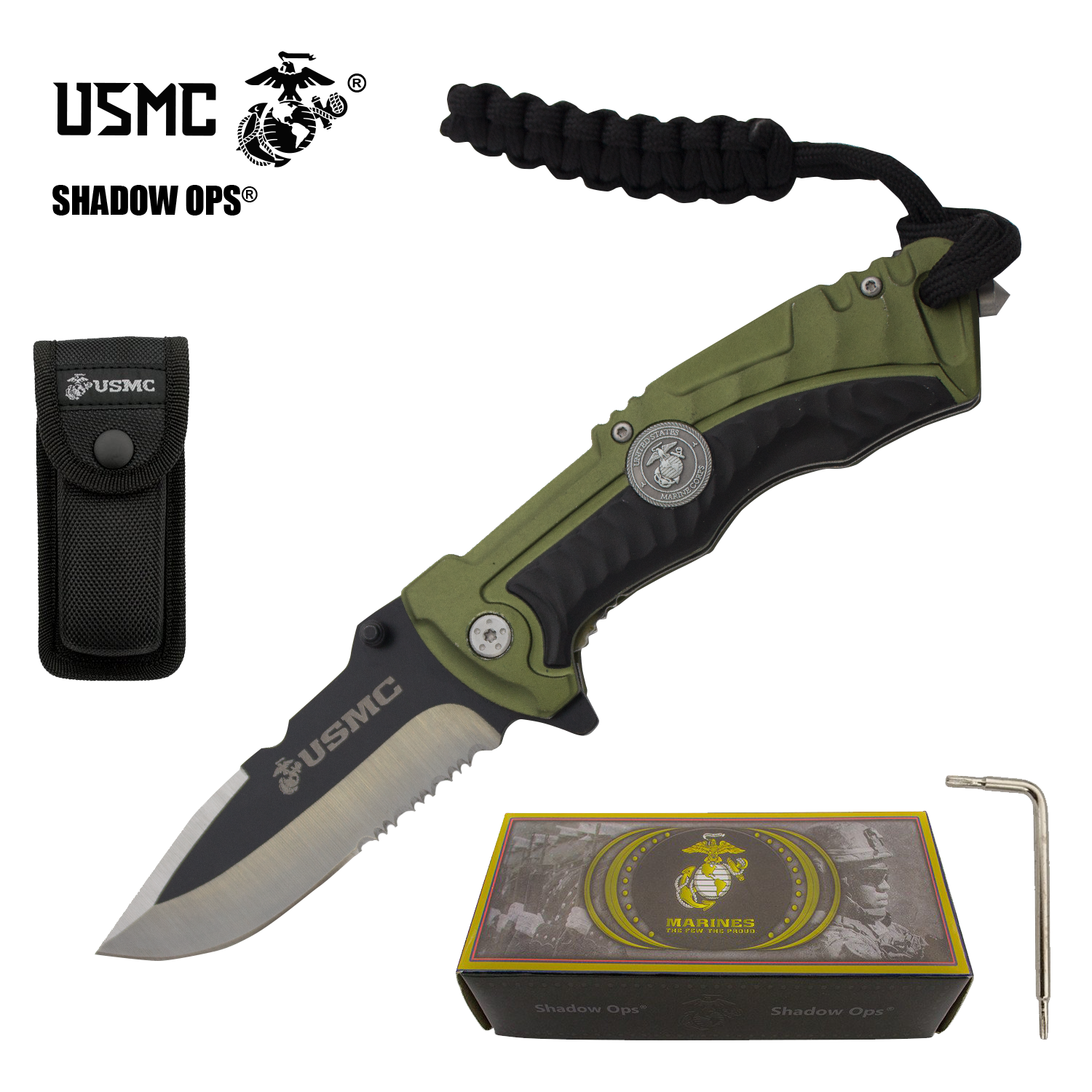 "8.25"" USMC Officially Licensed US Marines Green & Black Ball Bearing Action Blade Tactical Rescue Pocket Knife Belt Case"