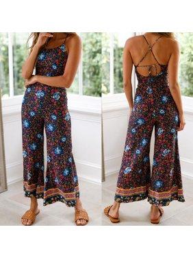 Boho Women Floral Romper Casual Wide Leg Long Pants Jumpsuit Playsuit Summer Overalls Navy Blue S