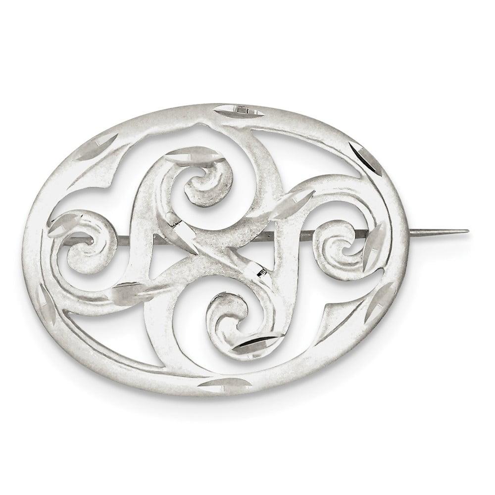 Sterling Silver Satin Finish Diamond Cut Scroll Pin by
