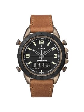 Timex Men's Expedition Pioneer Combo 41mm Tan/Black Watch, Leather Strap