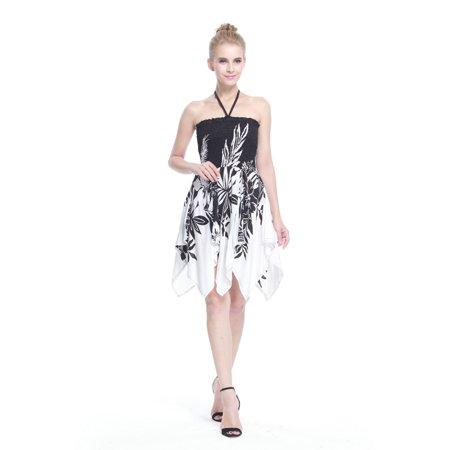 Gypsy Dress Hawaiian Dress Luau Dress Fairy Dress in Indri Black Border](Adult Fairy Dresses)