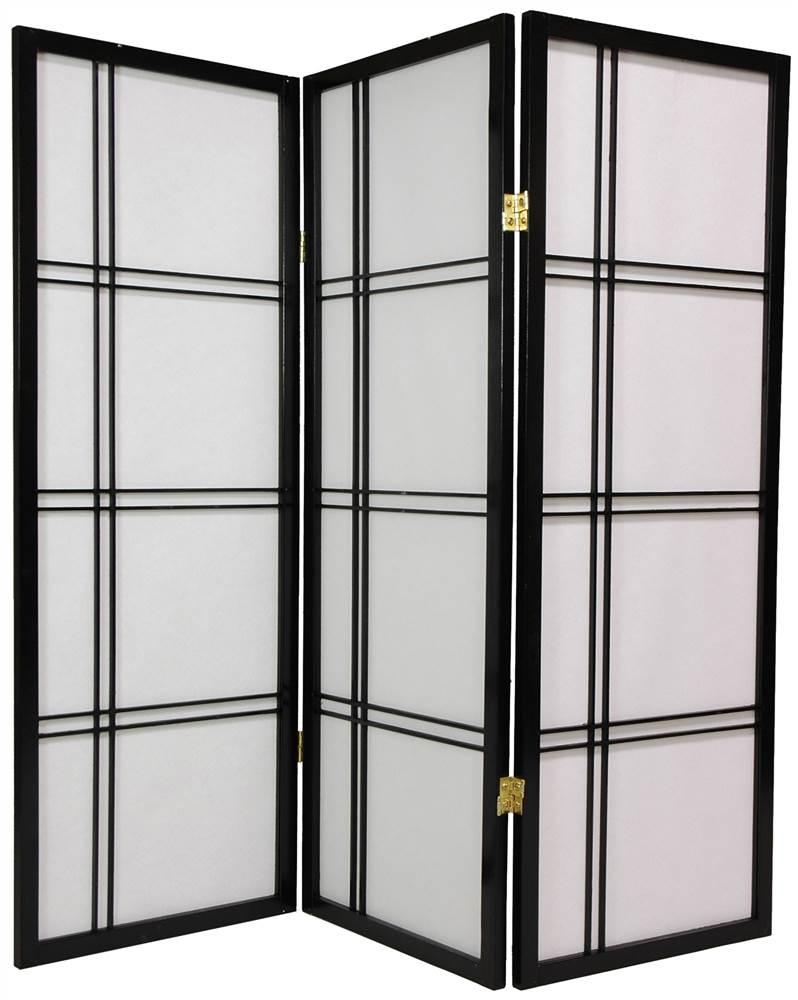 4 Panel Rosewood Oriental Furniture 2-Feet Cross Hatch Desktop Japanese Mini Shoji Privacy Screen Room Divider