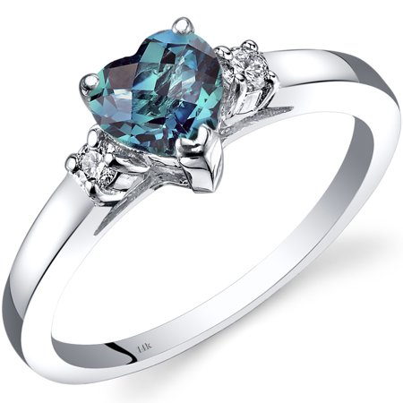 1 Carat T.G.W. Heart-Cut Created Alexandrite and Diamond Accent 14kt White Gold Ring Size 7](Purple Ring Pop)