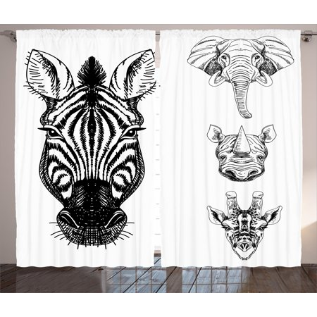 Animal Curtains 2 Panels Set, Sketch of Zebra Giraffe Elephant and Rhino Heads African Wildlife Animal Zoo Image, Window Drapes for Living Room Bedroom, 108W X 90L Inches, Black White, by Ambesonne (African Elephant Head)