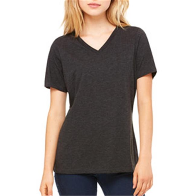 6405 Ladies Relaxed Jersey Short-Sleeve V-Neck Tee - Charcoal & Black Triblend, 2XL - image 1 de 1