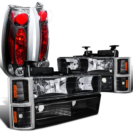 Spec-D Tuning 1994-1998 Chevy C/K 1500/2500/3500 Black Headlight Corner Bumper Lamps + Tail Lights (Left + Right) 1994 1995 1996 1997