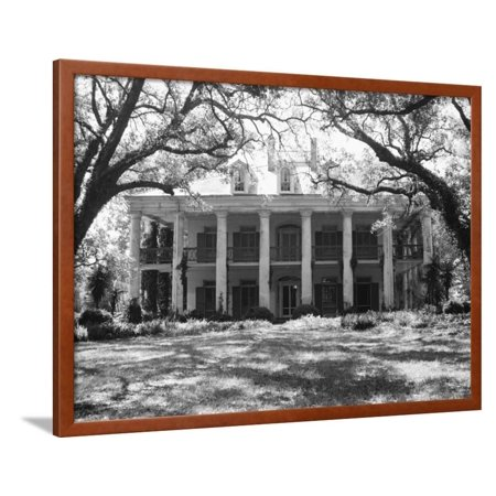 Exterior of Large Plantation Home Framed Print Wall Art By Philip Gendreau