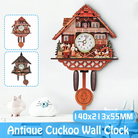 2019 NEW Handcrafted Wood Cuckoo Clock Auto Swinging Wall Clock Unique Vintage Collection Acctim Tree House Art Home Decor 5x9x2''/5.5x8.4x2''-Brown Horse Cuckoo Clock