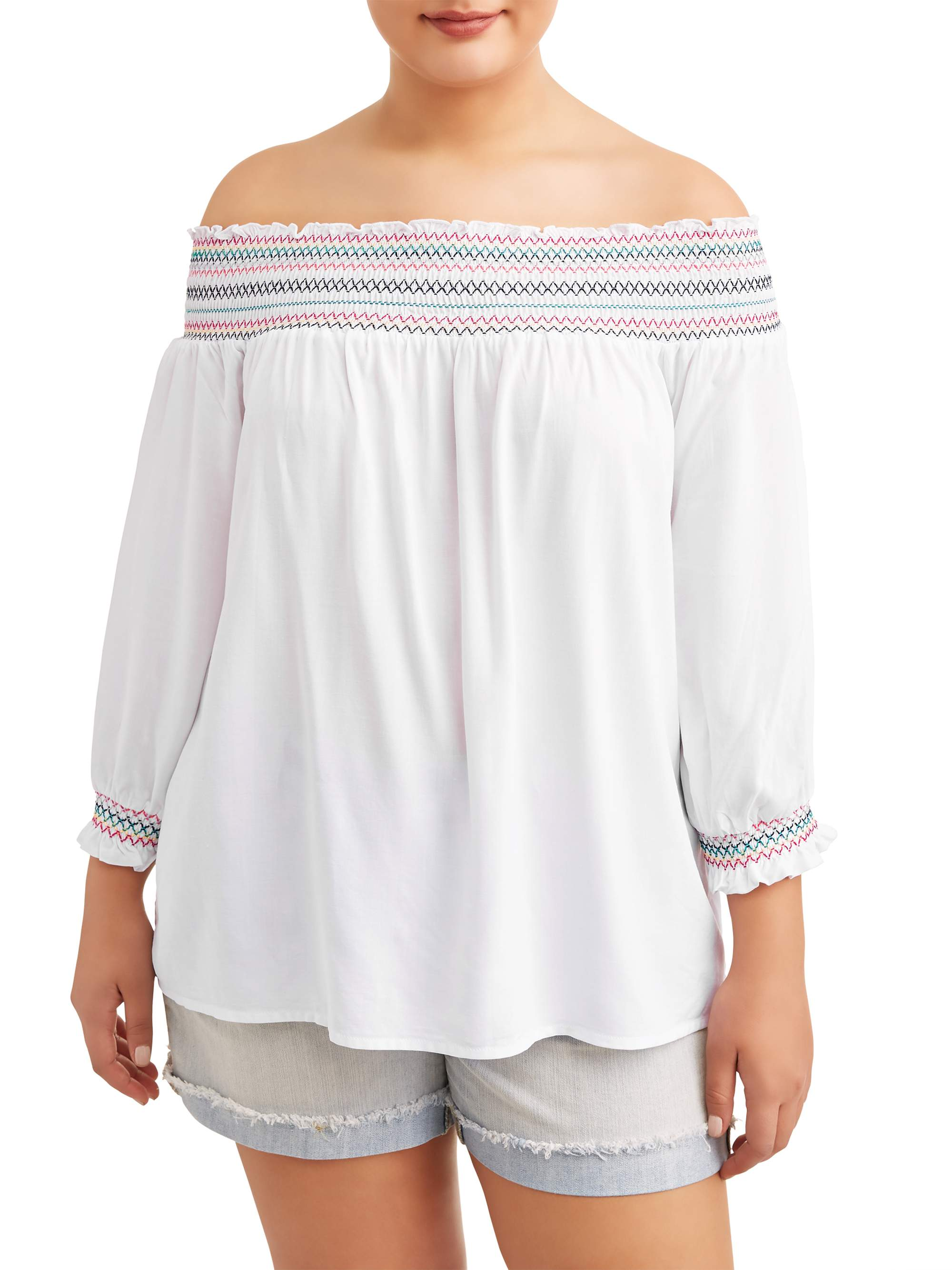 Juniors' Plus Size Smocked Off The Shoulder Top