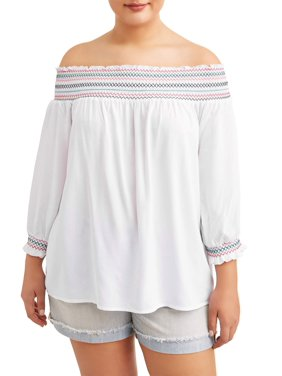 ecef99daa65d2 Product Image Juniors  Plus Size Smocked Off The Shoulder Top