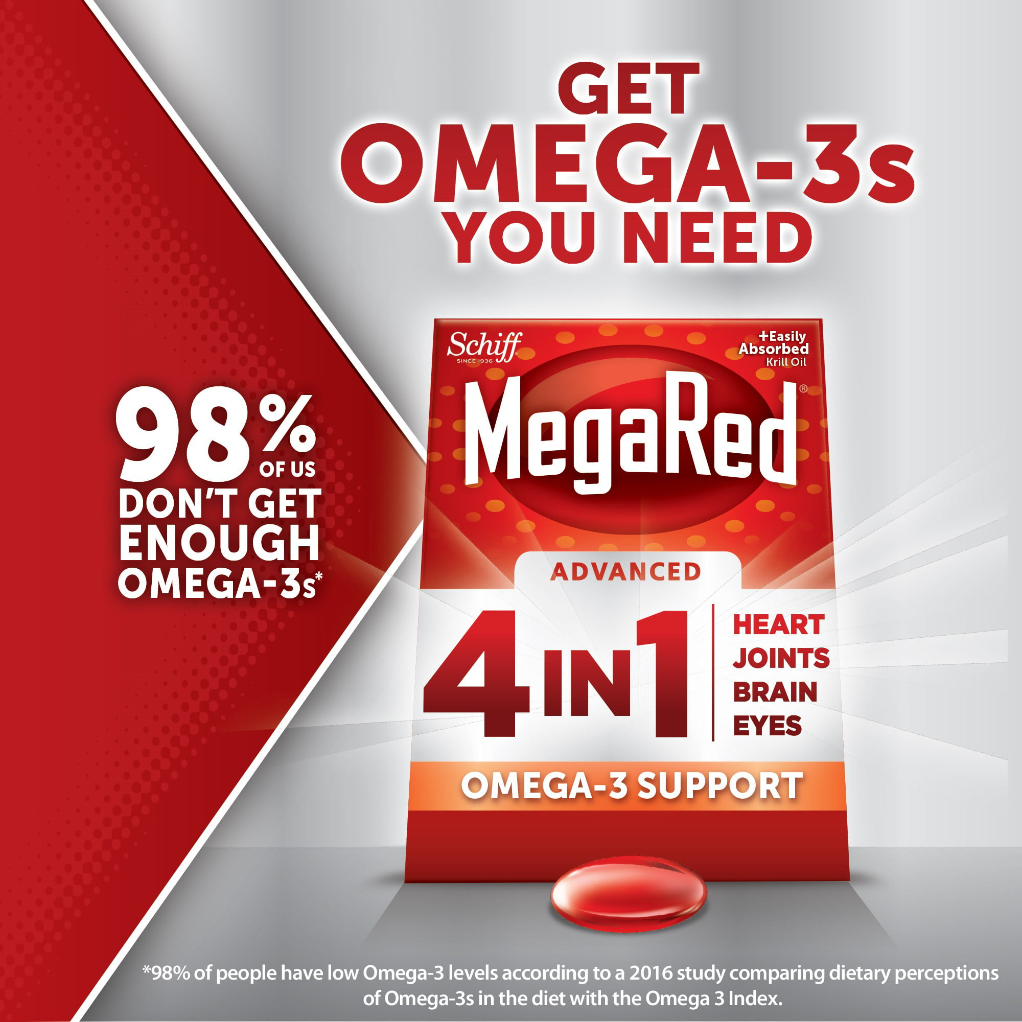 MegaRed Advanced 4 in 1 Omega-3 Fish Oil + Krill Oil
