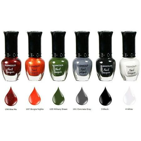 Green And Orange Halloween Nails (Kleancolor 6 pcs Nail Polish Metallic red Orange Green Black)