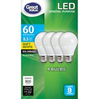 Great Value LED Light Bulb, A19, 8.5W (60W Equivalent), Lamp E26 Medium Base, Non-Dimmable, Soft White, 4 Pack
