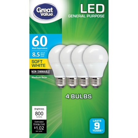 Great Value LED Light Bulb, 8.5W (60W Equivalent), A19 Lamp E26 Medium Base, Non-Dimmable, Soft White,
