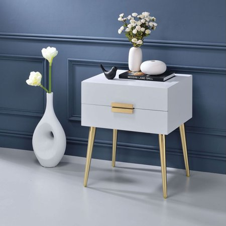 Bedside Table Side Table Wooden Small Space Side Table, Bedside Table Side Table With Drawers, Indoor Furniture, Modern Style Side Table Coffee Table, Wooden Top Metal Leg Bedroom Side Table White