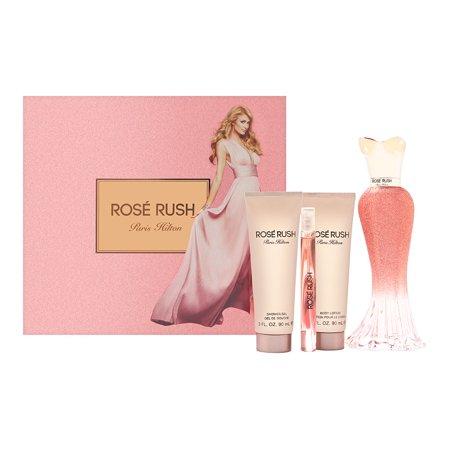 Paris Hilton Rose Rush for Women 4 Piece Set Includes: 3.4 oz Eau de Parfum Spray + 0.2 oz Eau de Parfum Rollerball Pen + 3.0 oz Body Lotion + 3.0 oz Shower Gel