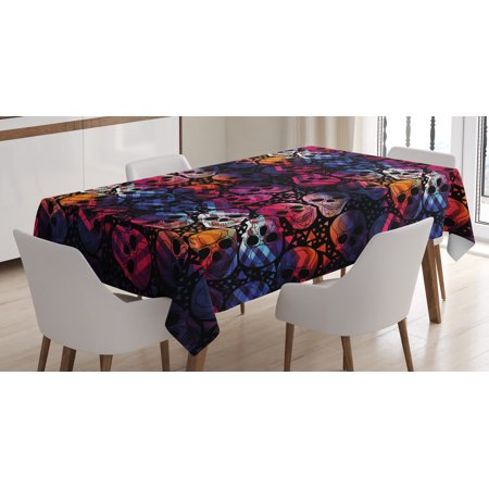 Halloween Tablecloth, Mexican Sugar Skulls Stylized Digital Polygonal Geometric All Saint Day Display, Rectangular Table Cover for Dining Room Kitchen, 60 X 84 Inches, Multicolor, by Ambesonne (Saints Steelers Halloween)