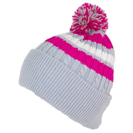 Best Winter Hats Quality Cable Knit Cuffed Winter Hat W Large Pom Pom (One  Size)(Fits Large Heads) - Light Gray Hot Pink White - Walmart.com 3d50cab401b