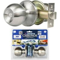 Constructor Chronos Passage Door Knob Handle Lock Set for Hallway and Closet Stainless Steel Finish