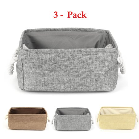 Home Fabric Rectangular Storage Basket Bin Organizer with Handle Gray,S,3Pcs