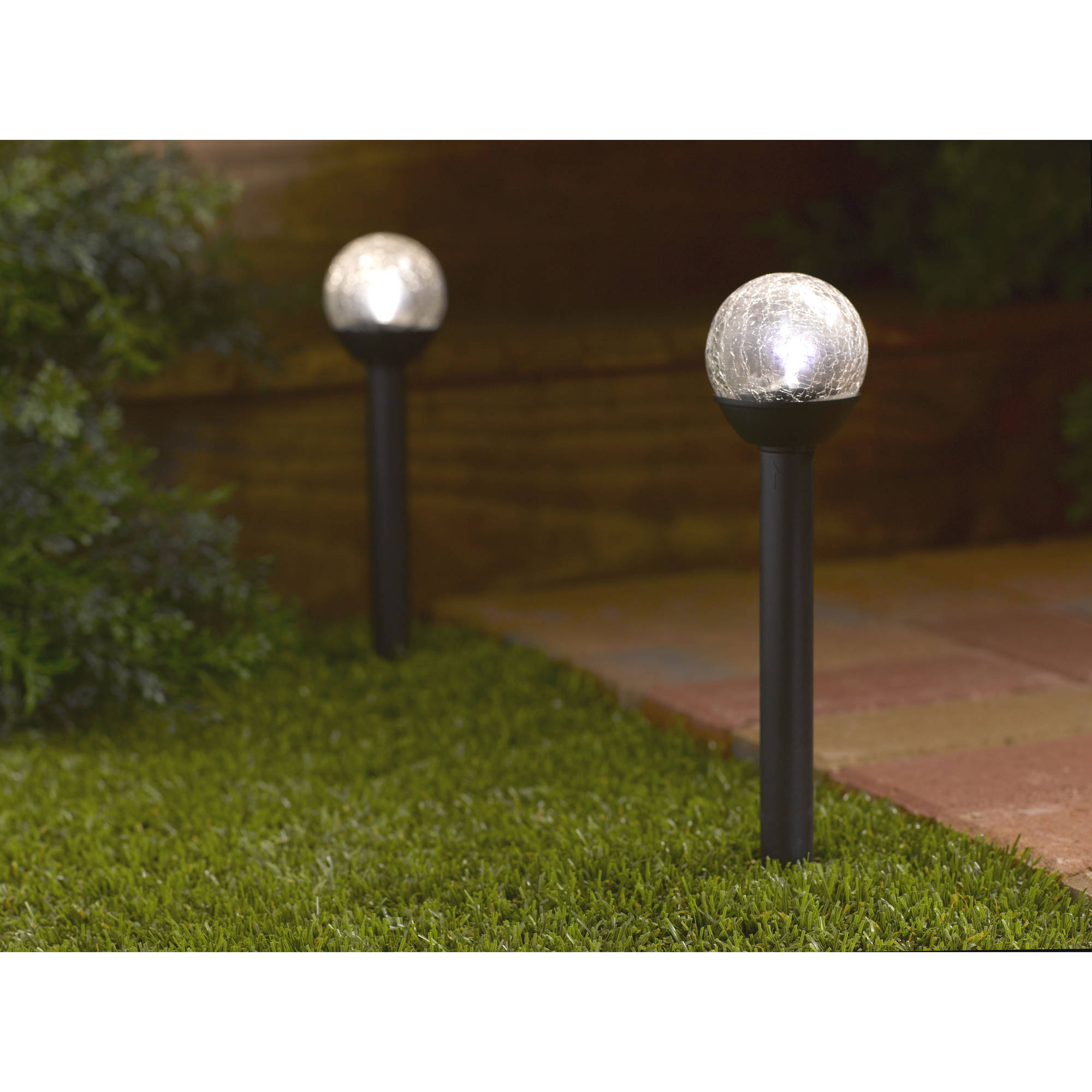 Genial Mainstays Petite Crackle Ball Solar Powered Landscape Light, Natural White  LED Light   Walmart.com