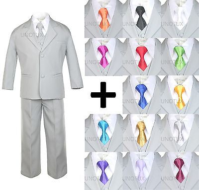 NEW BABY TODDLER BOY KID TEEN 6 PCS WEDDING PROM FORMAL TUXEDO SUIT GRAY sz S-20 - Prom Suit