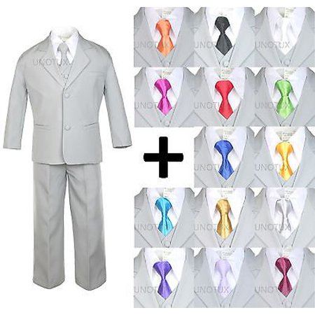 Prom Suit (NEW BABY TODDLER BOY KID TEEN 6 PCS WEDDING PROM FORMAL TUXEDO SUIT GRAY sz)