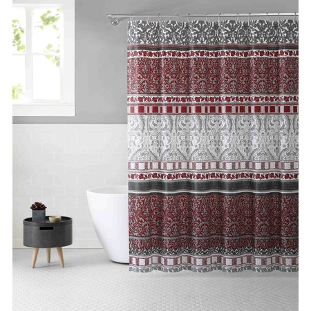 Victoria Classics White Burgundy and Gray PEVA Shower Curtain Liner Odorless, PVC and Chlorine Free, Biodegradable, Mildew Free, Eco-Friendly Size 72in x 72in (Royalty Red & (Excell Eco Soft Peva Shower Curtain Liner)