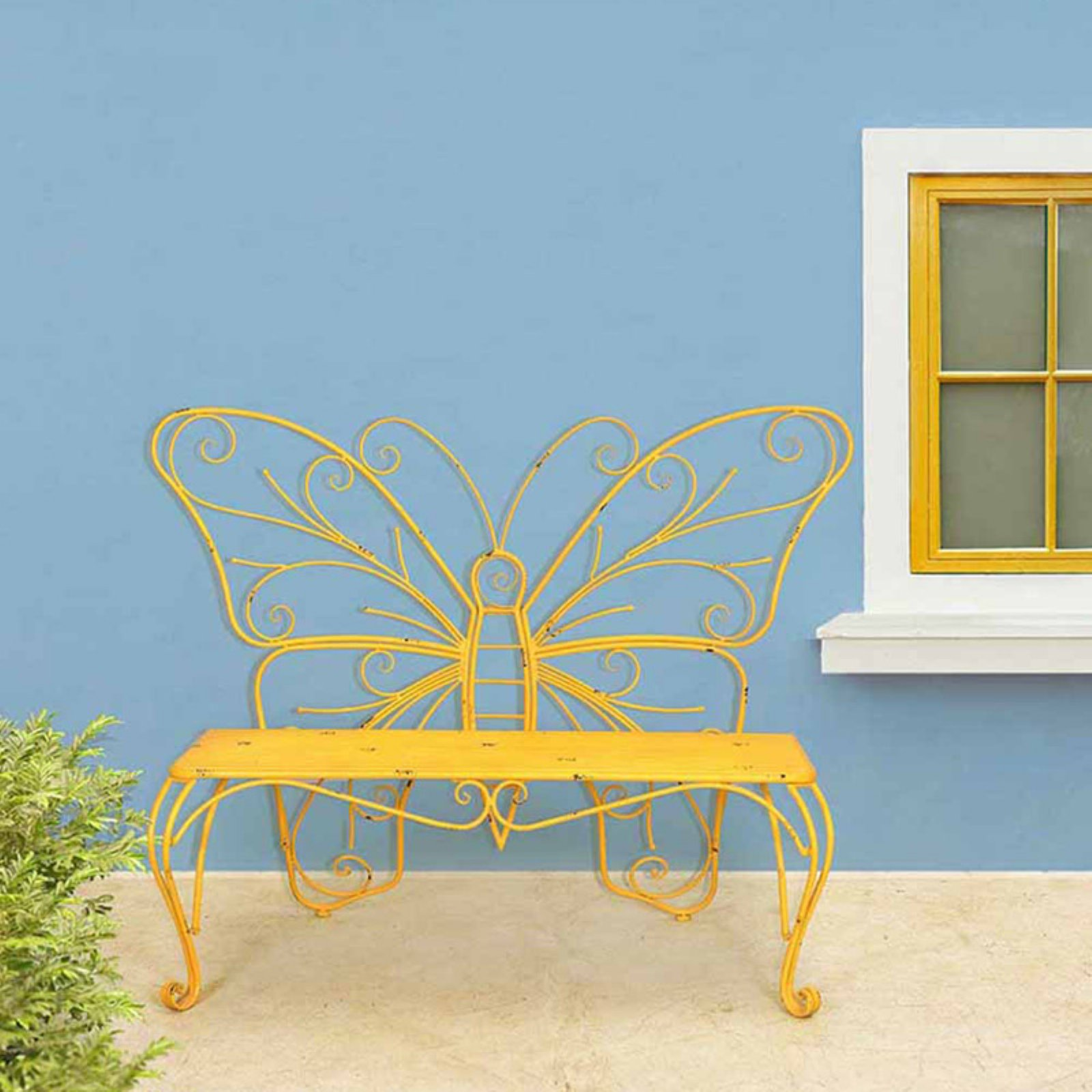 "Sunjoy 110208009 Yellow Butterfly Bench Made of Iron, 55.75"" x 23.5"" x 42.25"""