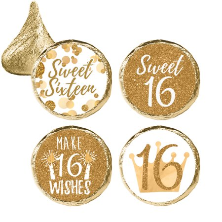 Sweet 16 Party Favor Stickers, 324 Count - White and Gold 16th Birthday Party Decorations, Sweet Sixteen Party Favors (Sweet 16 Table Ideas)