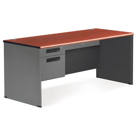 77366-CHY Office Furniture Executive Series Solid Panel Legs Steel Frame Cherry 2-Drawer Single Pedestal Desk - Executive Series Single Pedestal