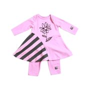 KidCuteTure Baby Girls Rose Pink Flower Zoe Dress Leggings Outfit Set 3-24M